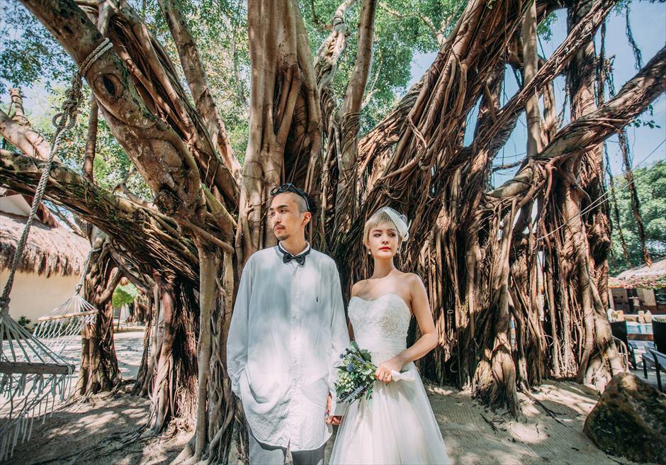 ブルーウォーター・マリバゴの壮大なガジュマルツリーで前撮り