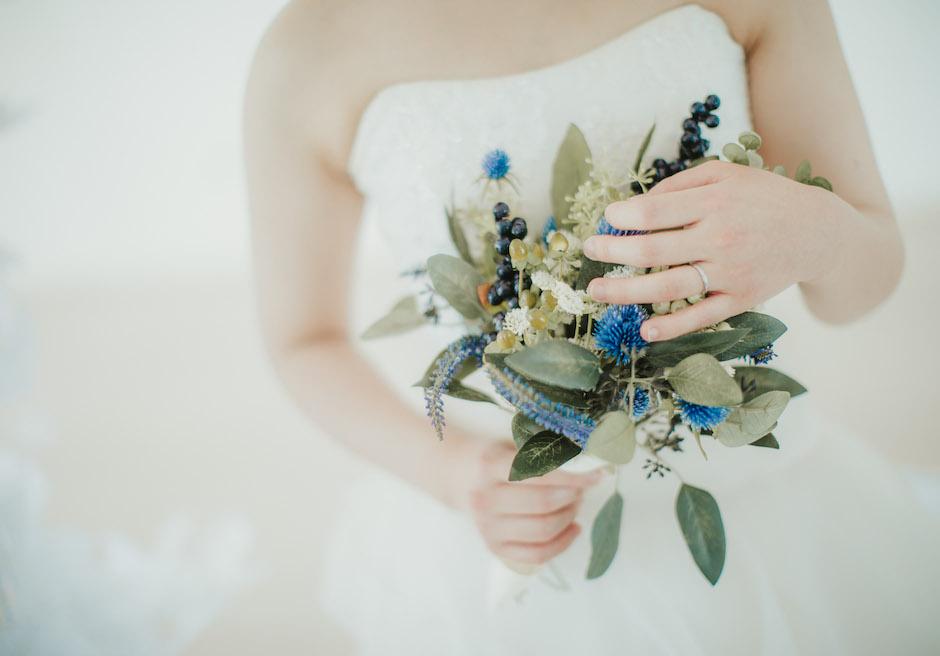セブの花嫁のブルーのブーケ