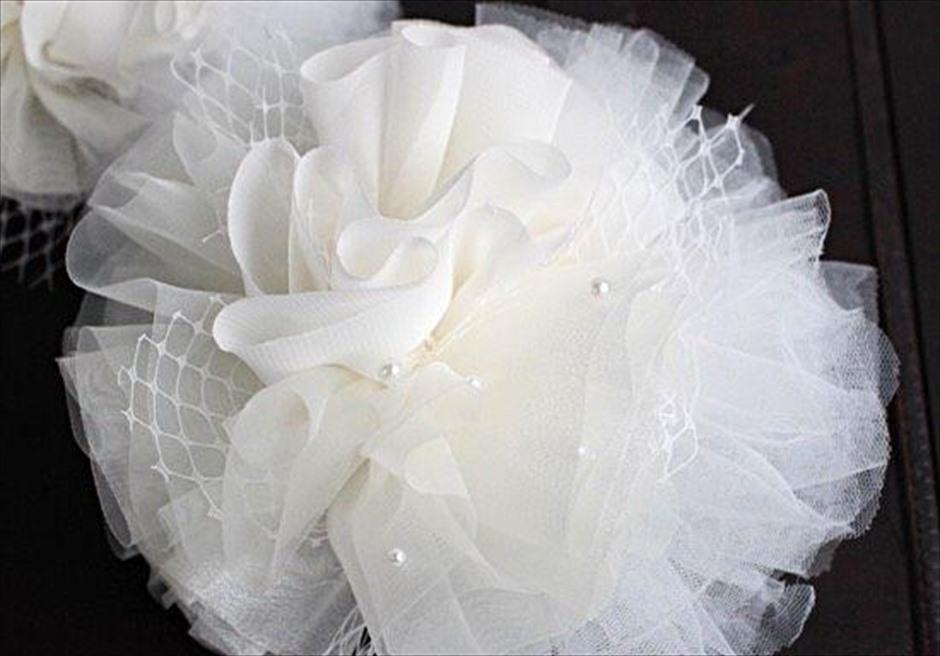 セブ島前撮り撮影のヘッドドレス パール付き異素材コサージュ