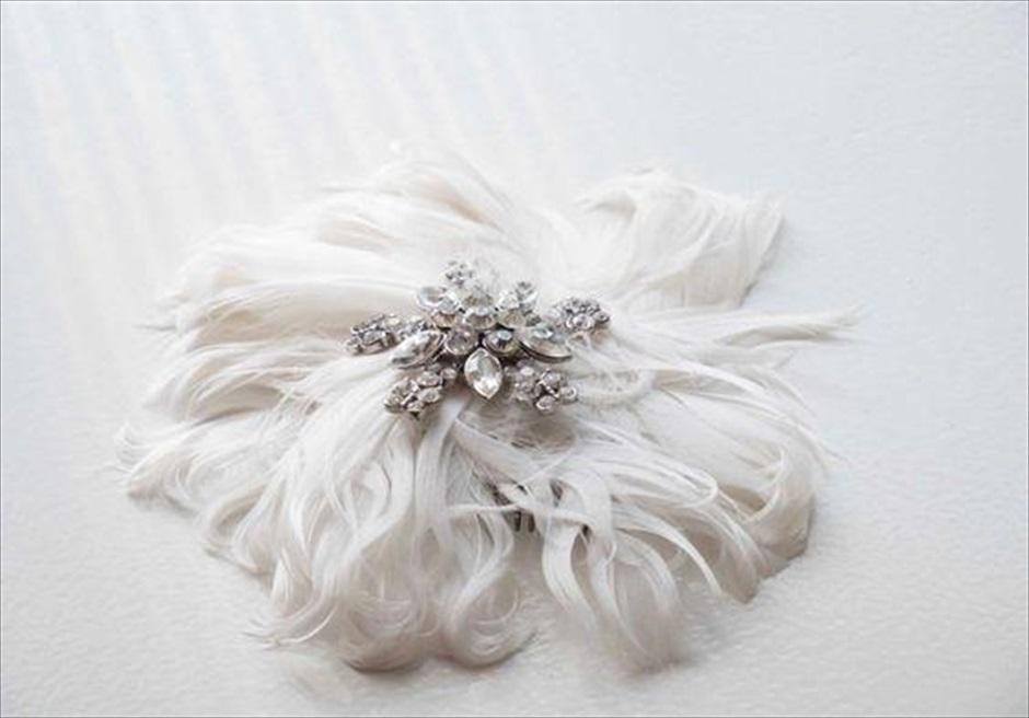 セブ島フォトウェディングのヘッドドレス フェザー・ヘッドピース
