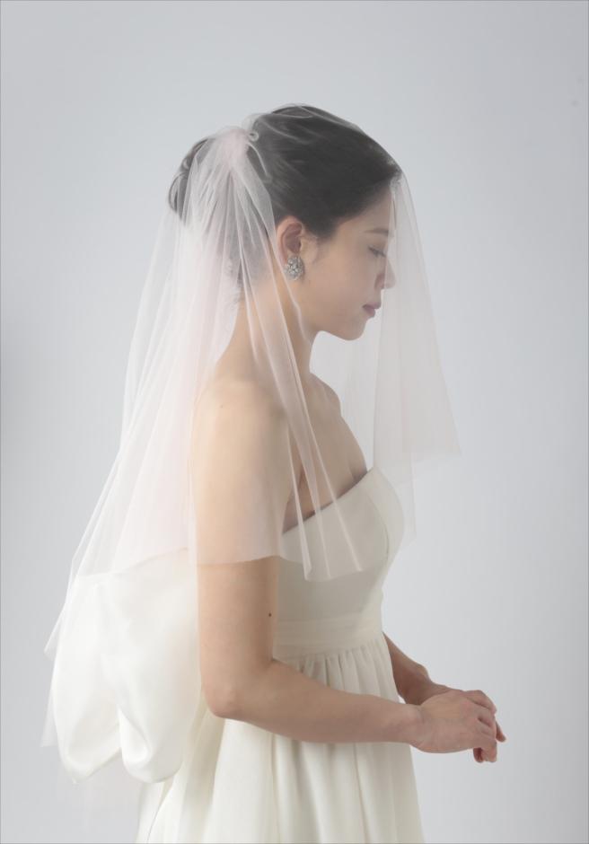セブ島カップル・フォト 人気ウェディングドレス・アイテム ピンクベージュ・カラーベール