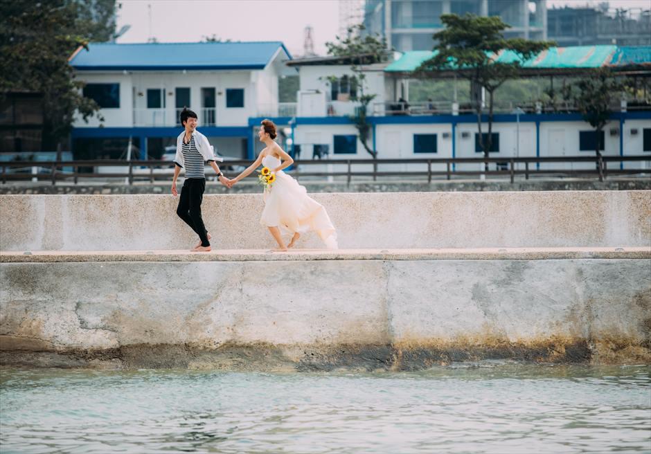 セブ島ビー・リゾート・マクタンの桟橋でカップル・フォト撮影