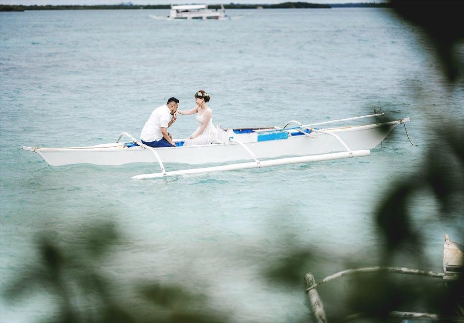 セブ島ビーチ・フォト前撮りのボート撮影